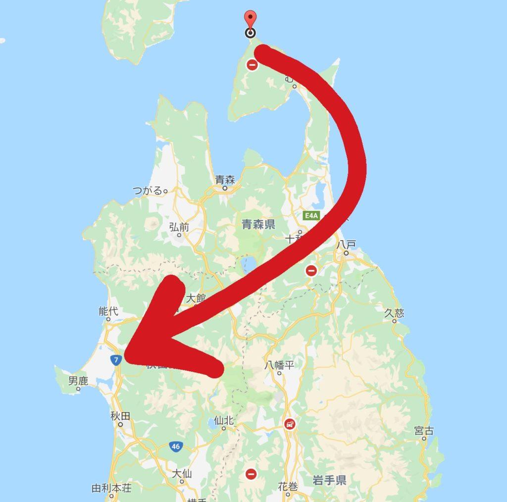 青森県から日本海へ